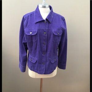 J. Jill Purple Brushed Cotton Jacket